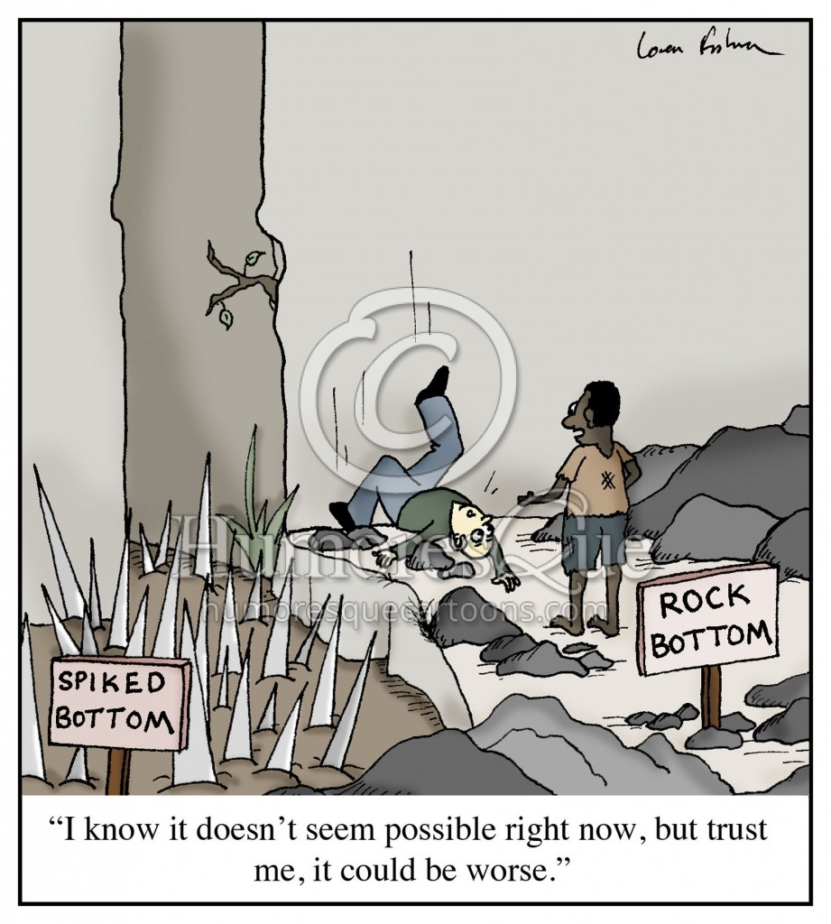 hitting rock bottom cartoon