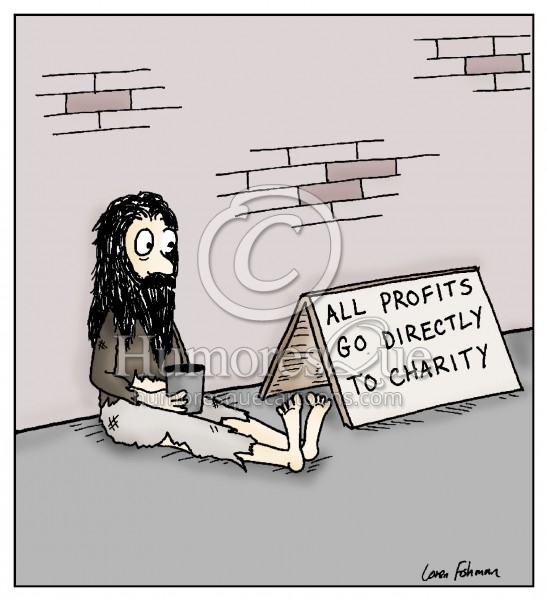 all profits go to charity bum finance cartoon