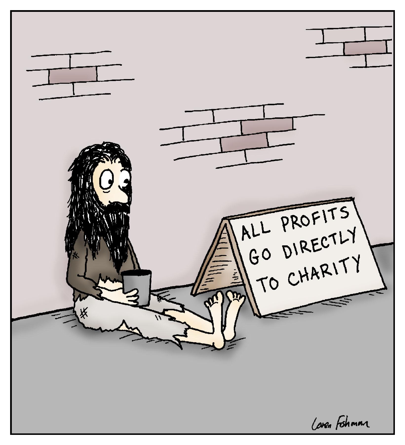 all profits go to charity bum finance cartoon
