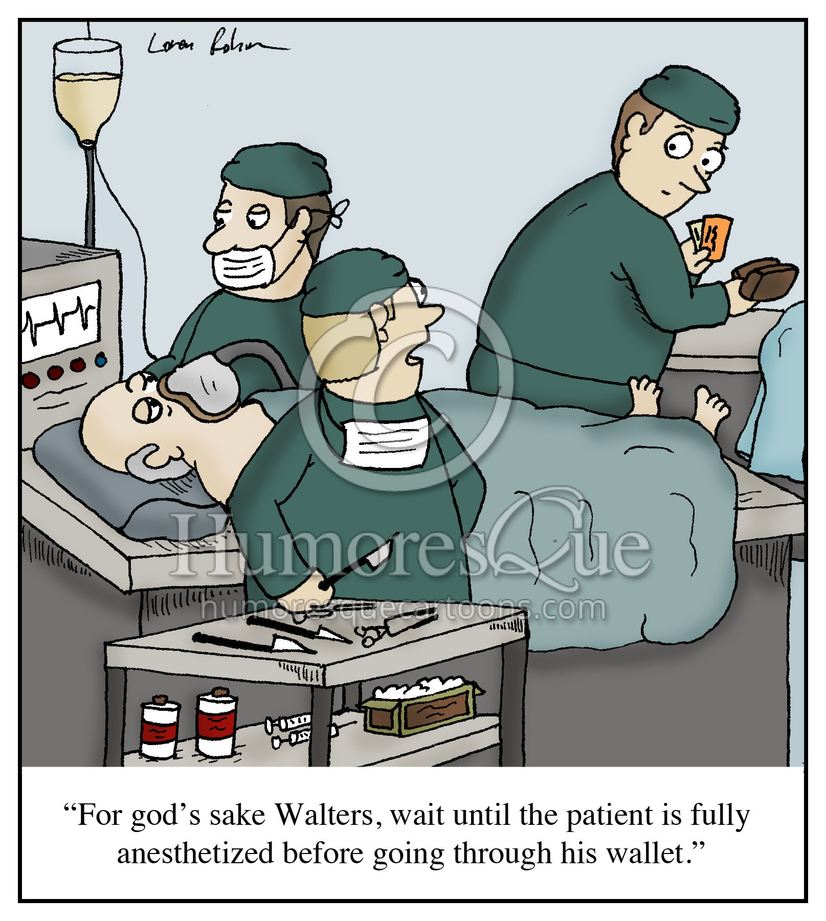 surgeon going through wallet medical surgery cartoon