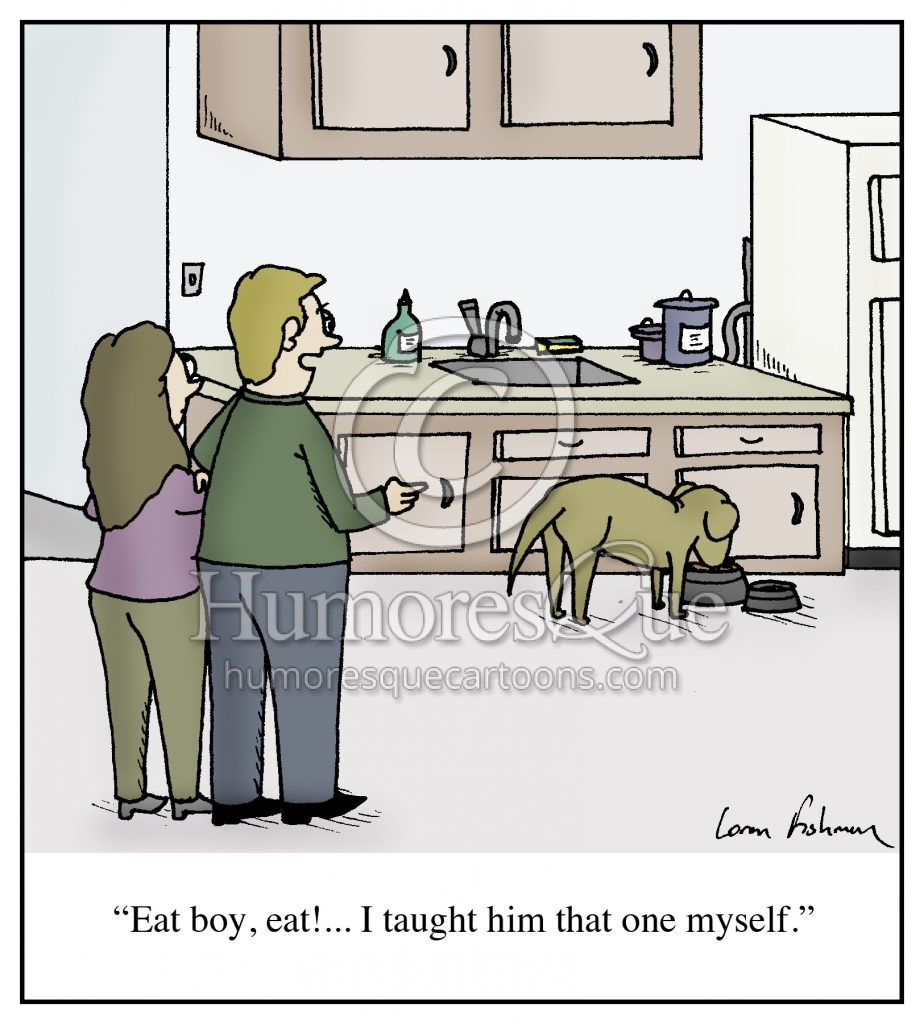 training dog to eat cartoon