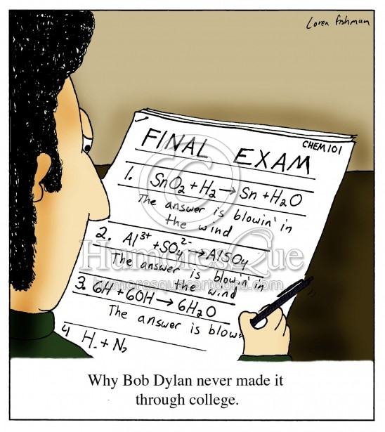 Bob Dylan taking a college exam answering the answer is blowin in the wind cartoon