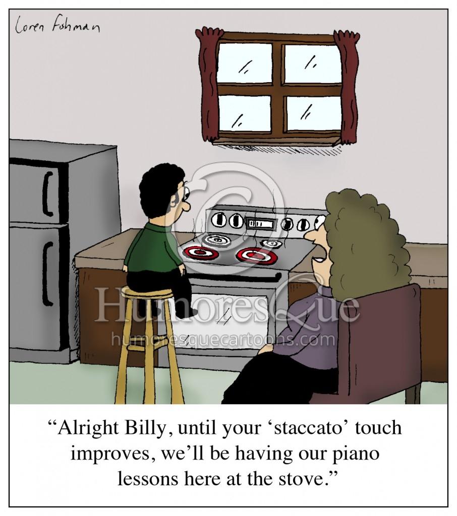 staccato touch stove piano teacher cartoon