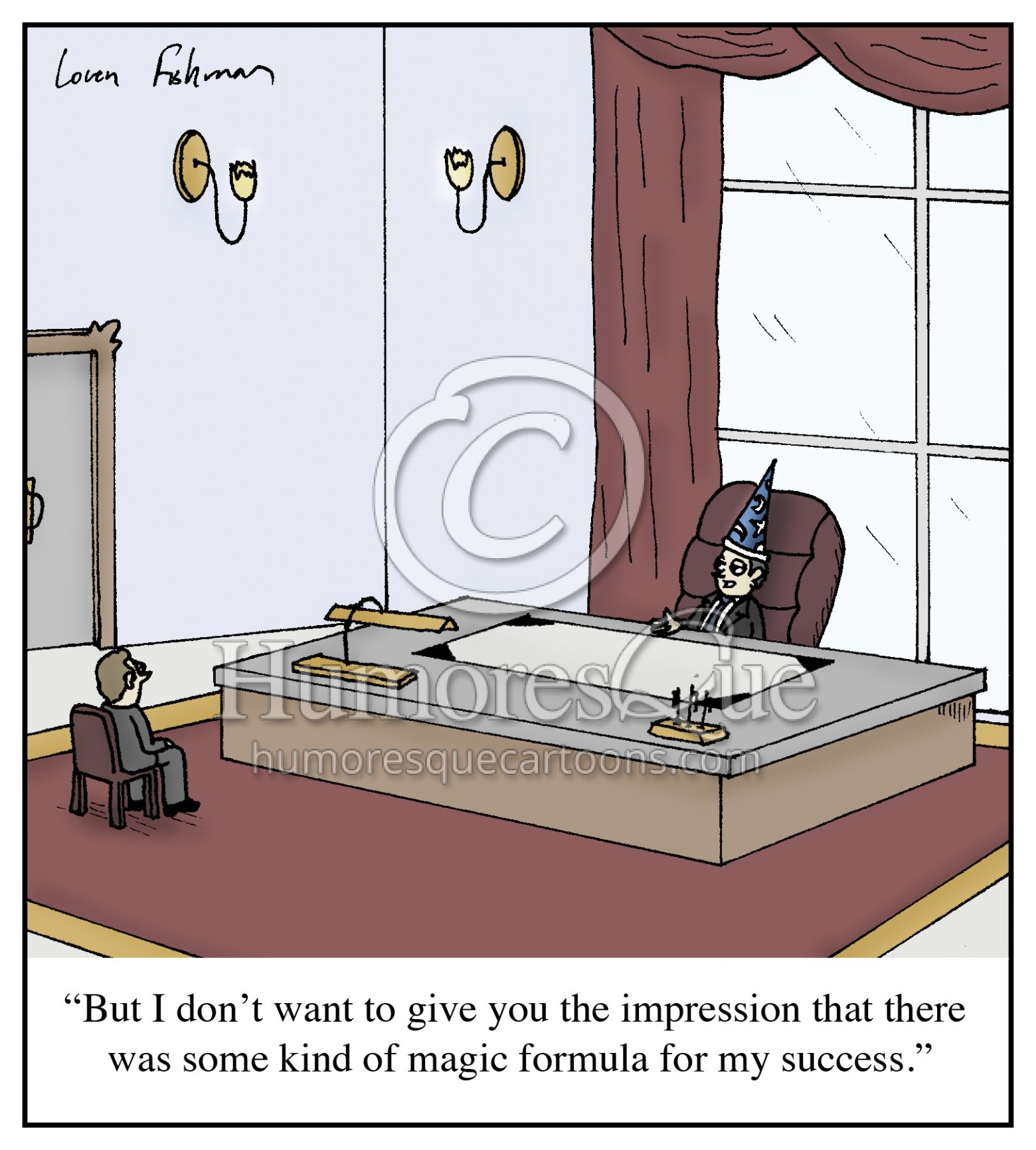 wizard hat ceo business formula success cartoon