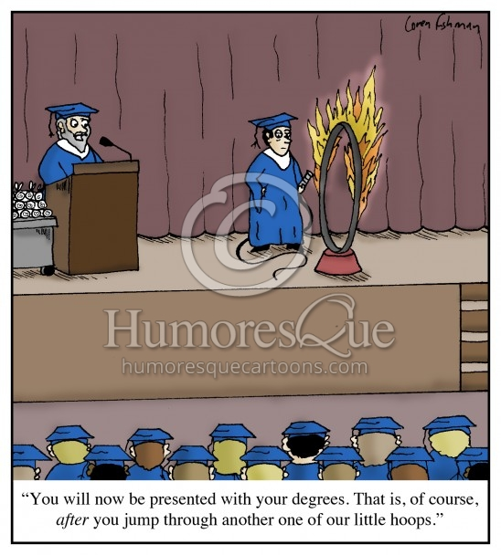jumping through hoops graduation cartoon