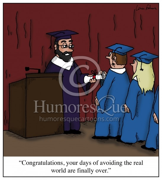 graduation avoiding life cartoon