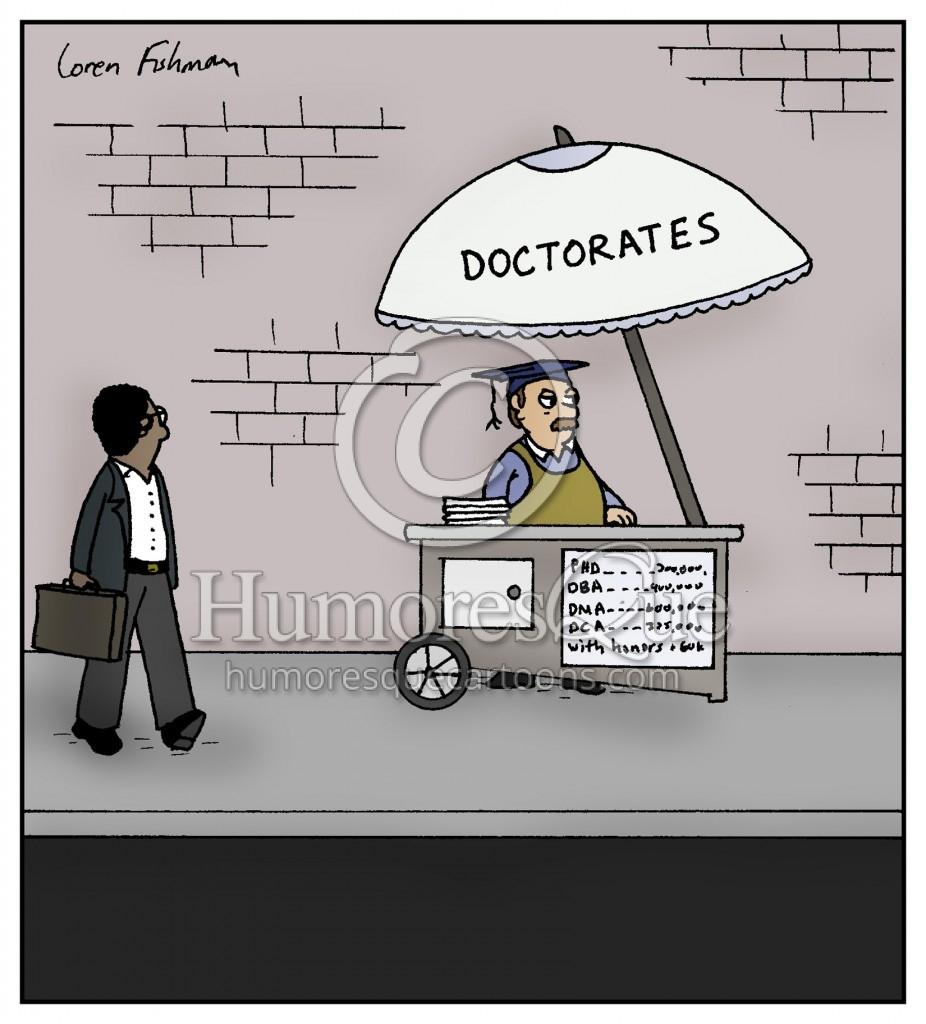 street vendor selling doctorates cartoon