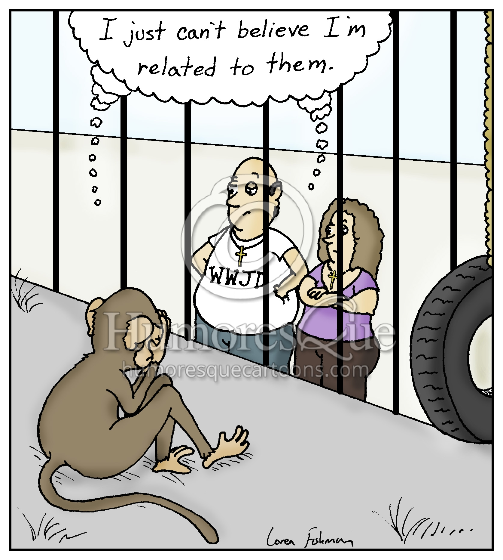 christians don't believe in evolution embarassed monkey cartoon