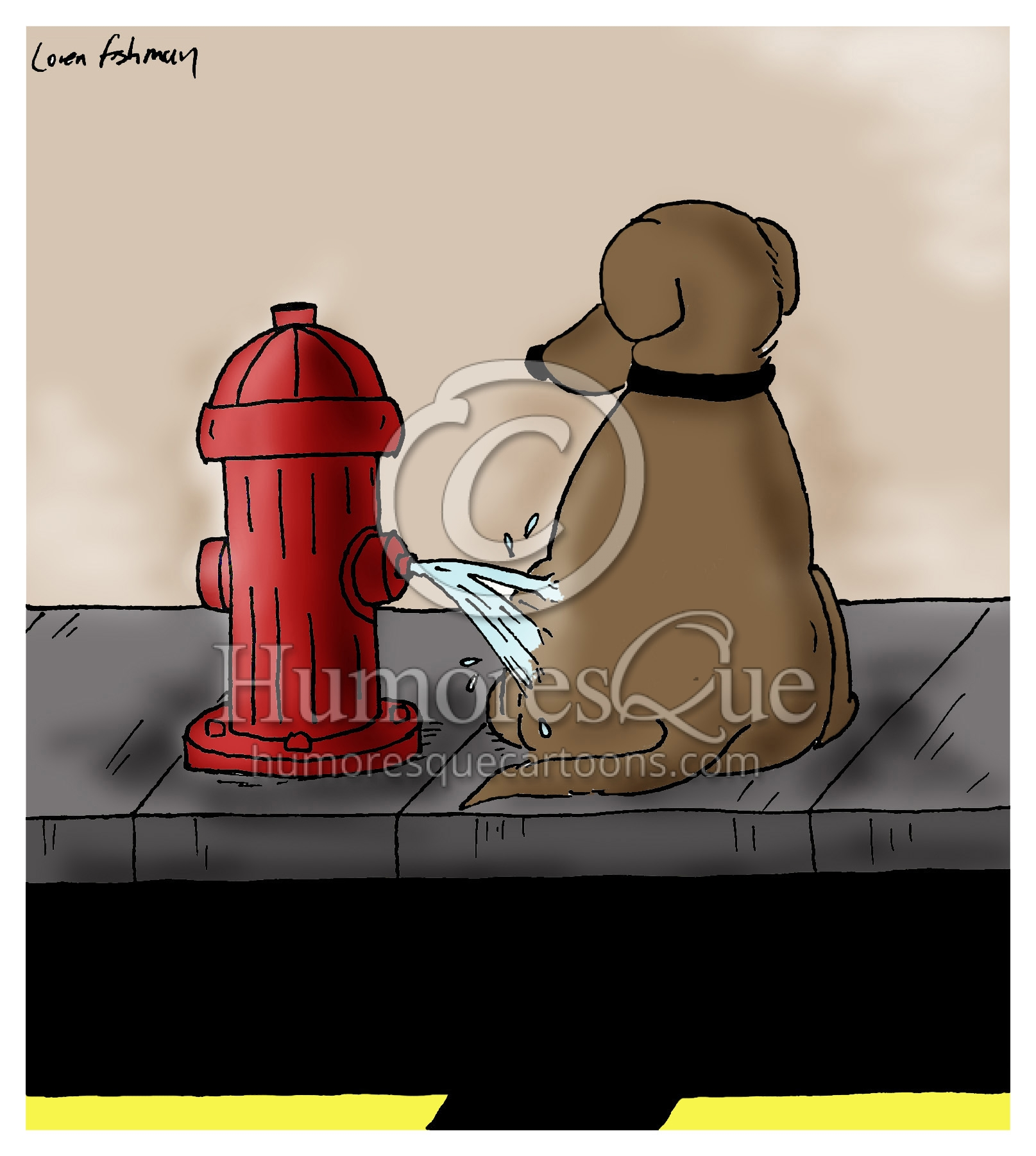 fire hydrant peeing on a dog cartoon