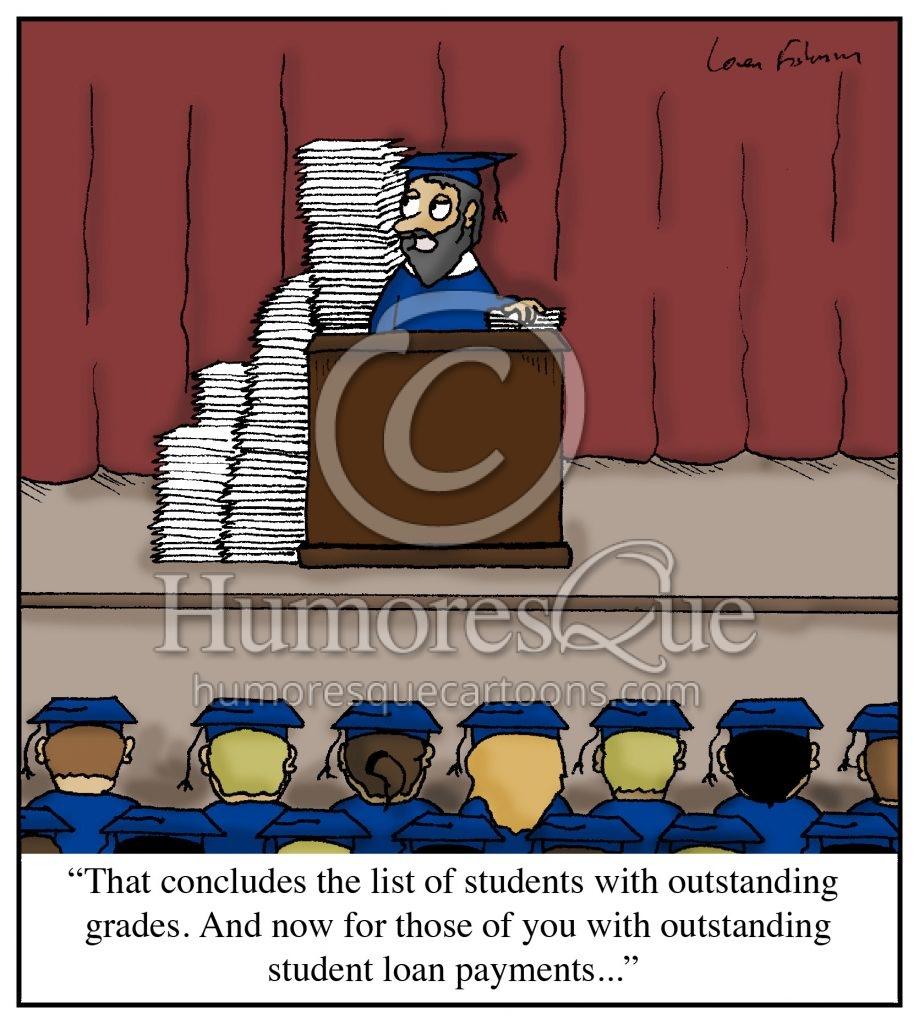 outstanding loan payments student debt cartoon
