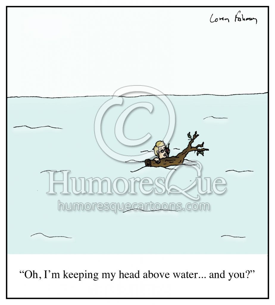 head above water debt financial trouble water cartoon