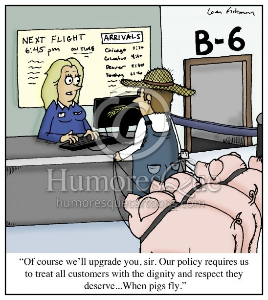 when pigs fly airline customer service cartoon