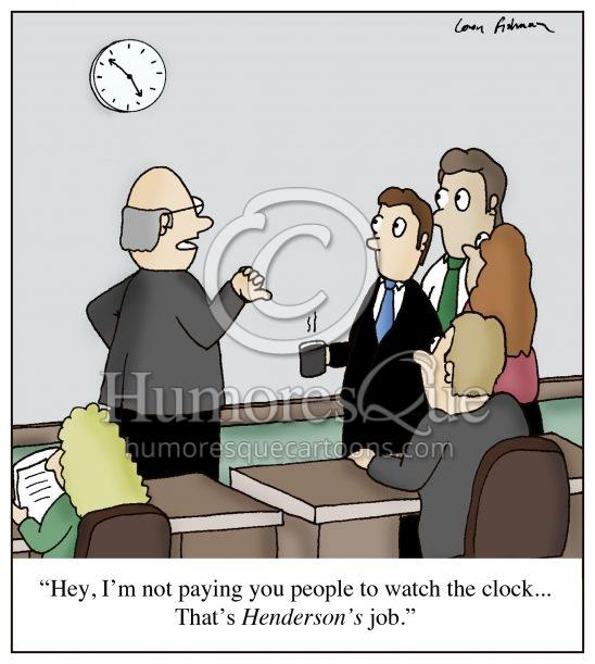 watching clock in the office boring desk job cartoon