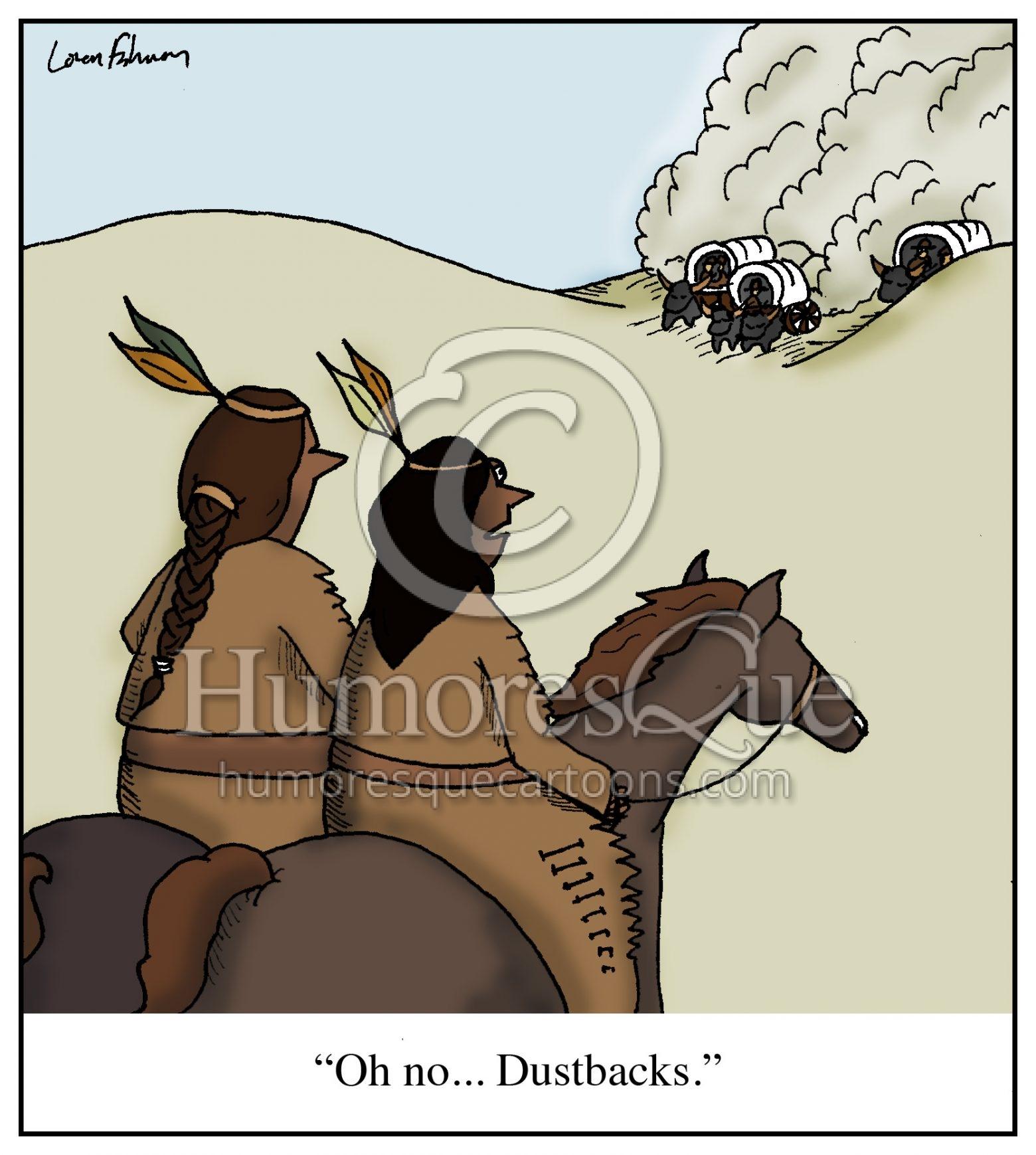 racism against native americans dustbacks cartoon