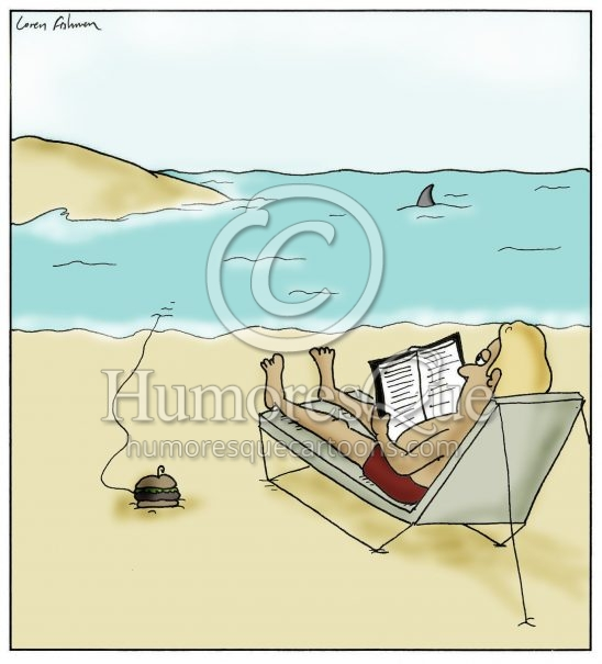 shark fishing with a hamburger on the beach cartoon