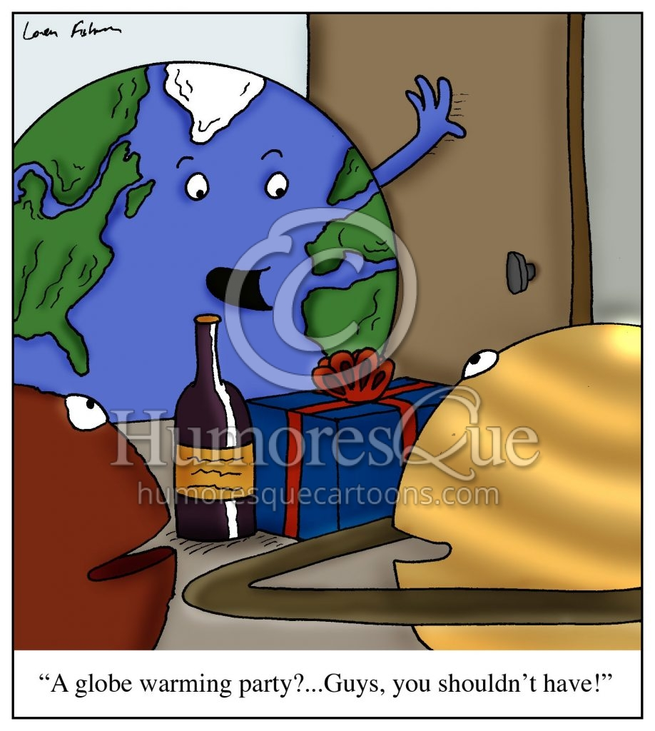 Globe warming party cartoon about global warming and climate change