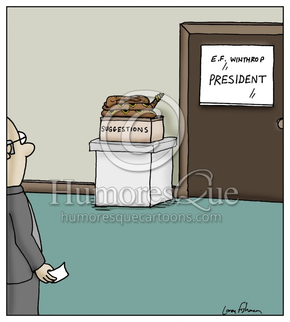 snake on suggestions box cartoon