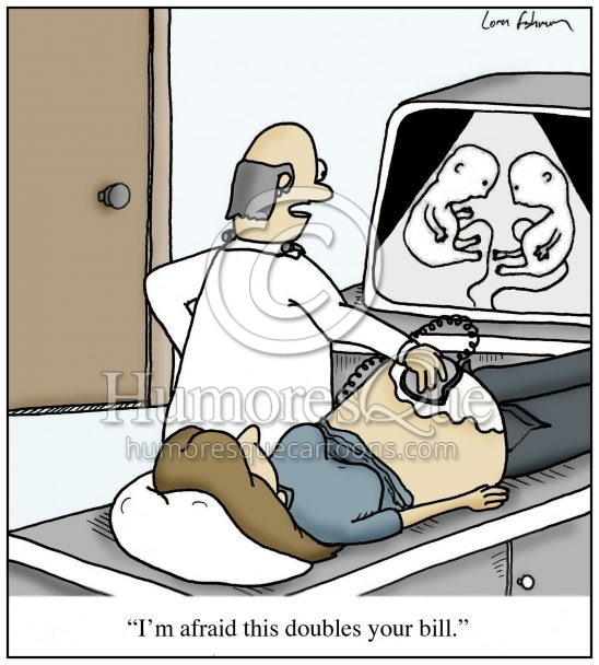 twins on ultrasound doubles medcial bill cartoon