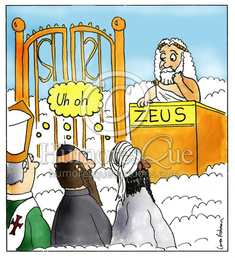 zeus in heaven all religions are wrong atheist cartoon