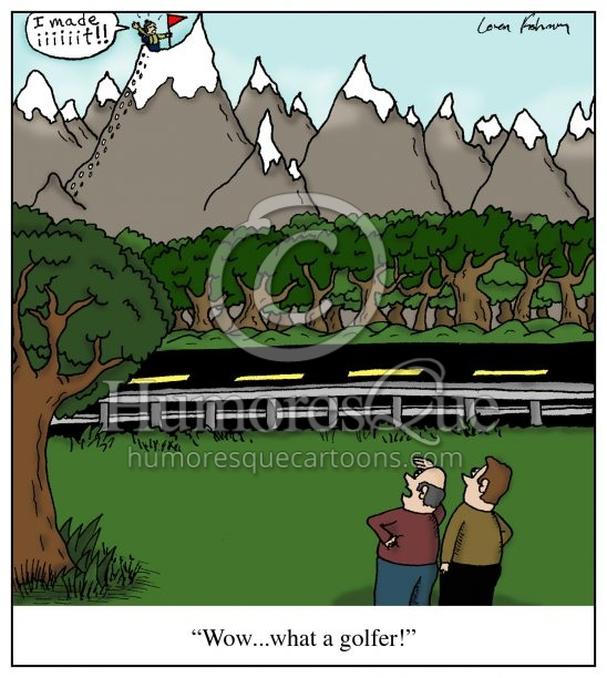 golf tough shot mountain climbing golf cartoon