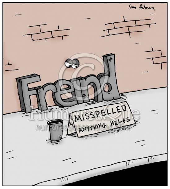 misspelled word freind grammar and spelling cartoon