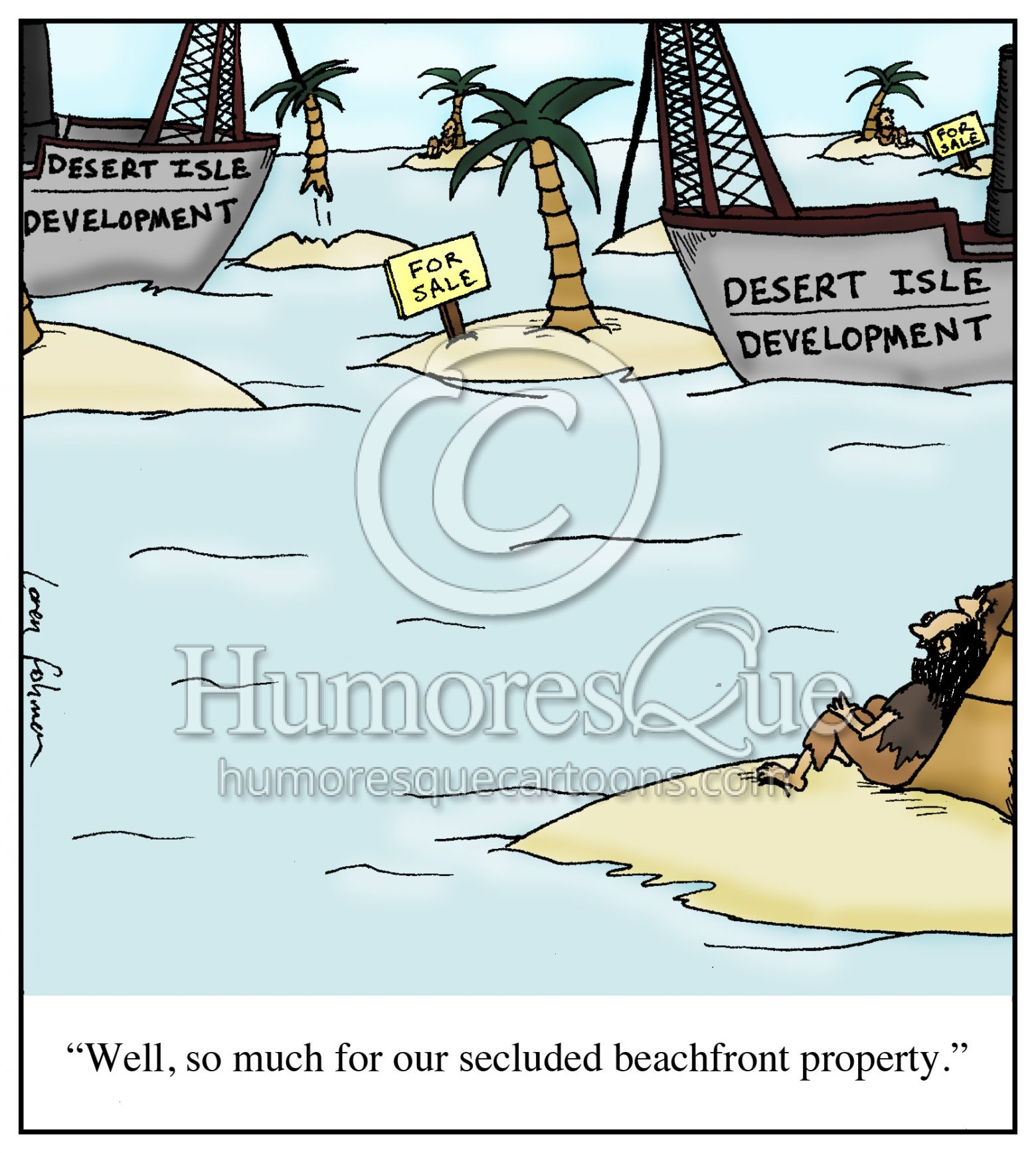 desert island development real estate cartoon