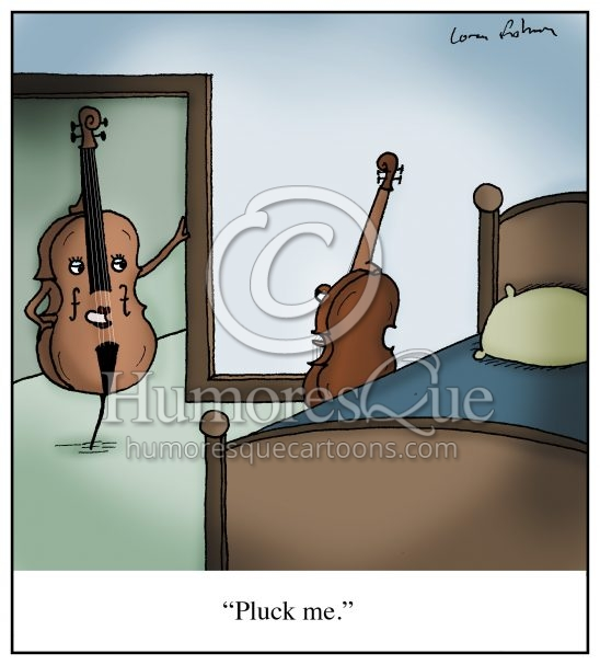 pluck me strings cello violin viola sexy cartoon