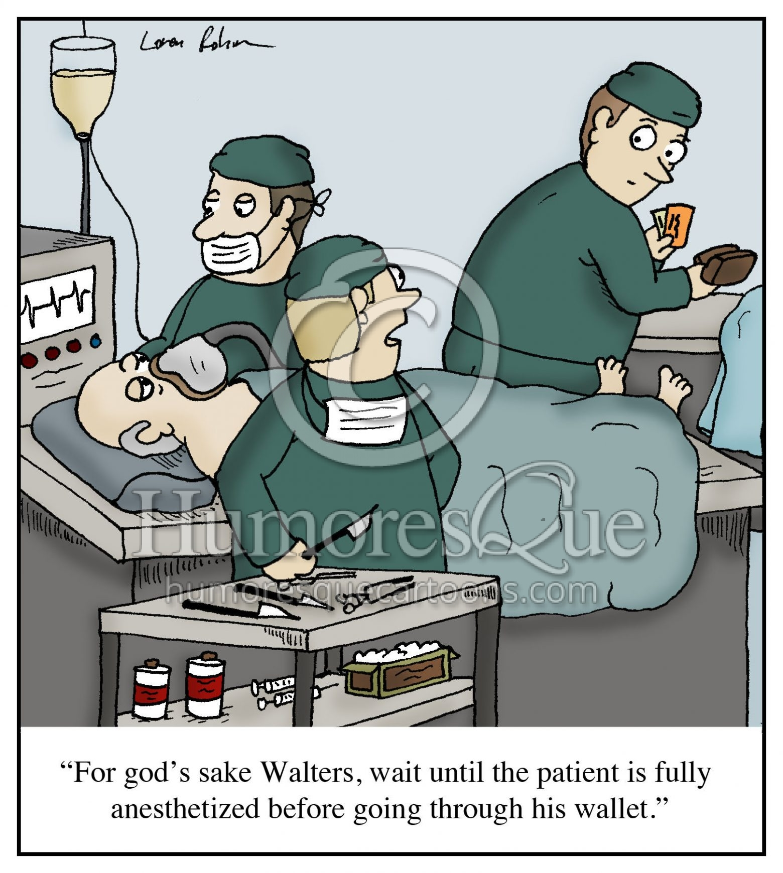 surgeon stealing wallet cartoon