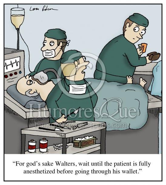 surgeon stealing wallet cartoon