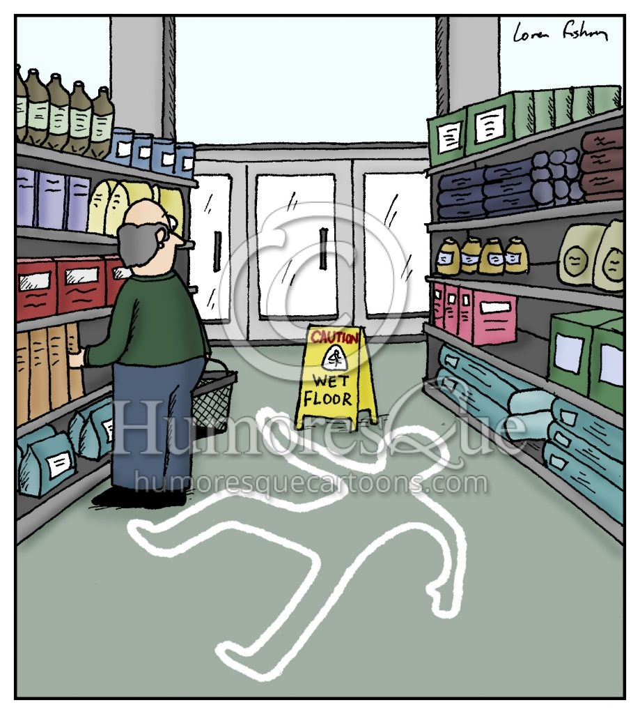 wet floor sign with a crime scene white outline cartoon