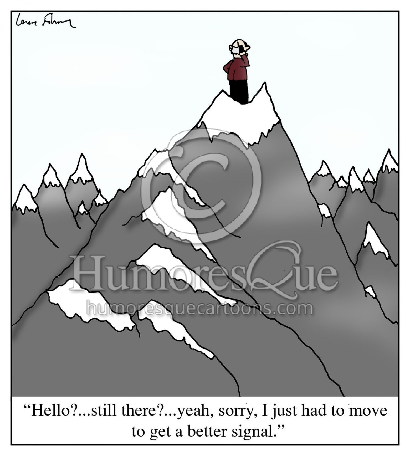 climb a mountain to get a better mobile service signal cartoon