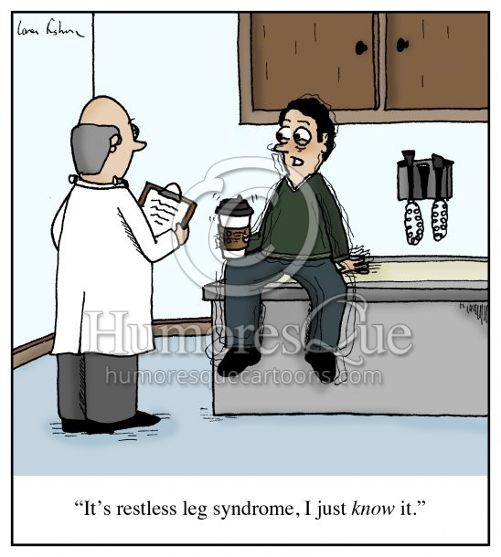 restless leg syndrome coffee cartoon