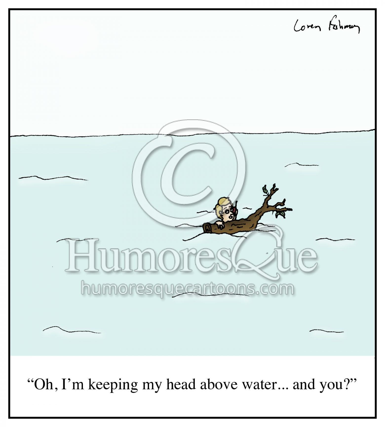 Head above water financial trouble cartoon