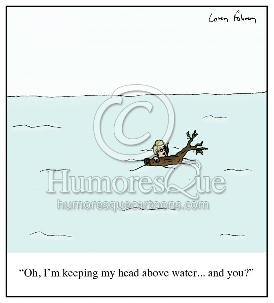 Head above water financial trouble cartoon