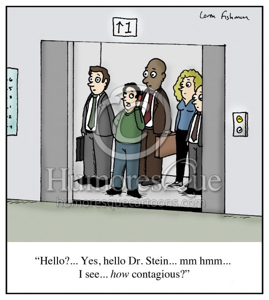 Contagious in office elevator cartoon