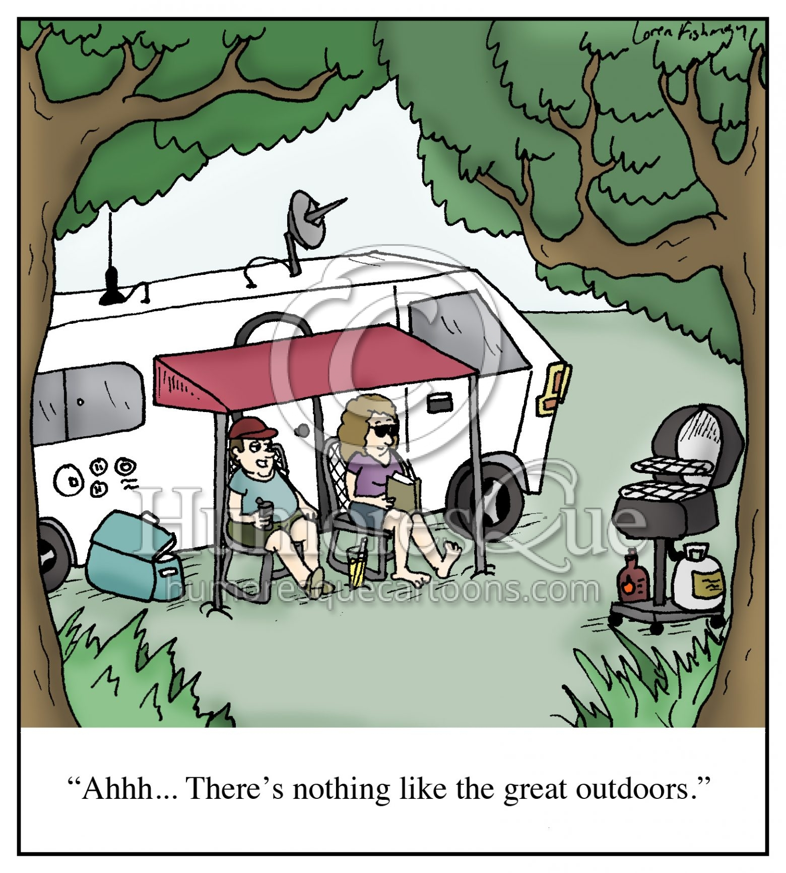 RV mobile home camping in comfort cartoon