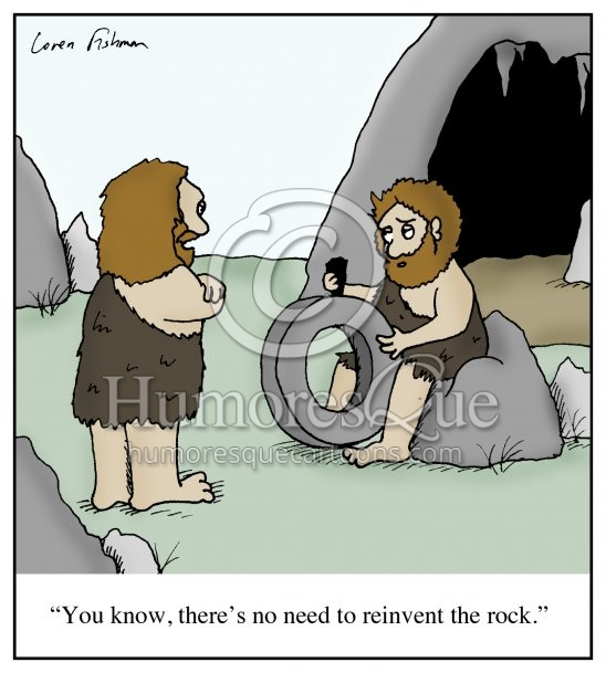 reinventing the rock cave man wheel invention and innovation cartoon
