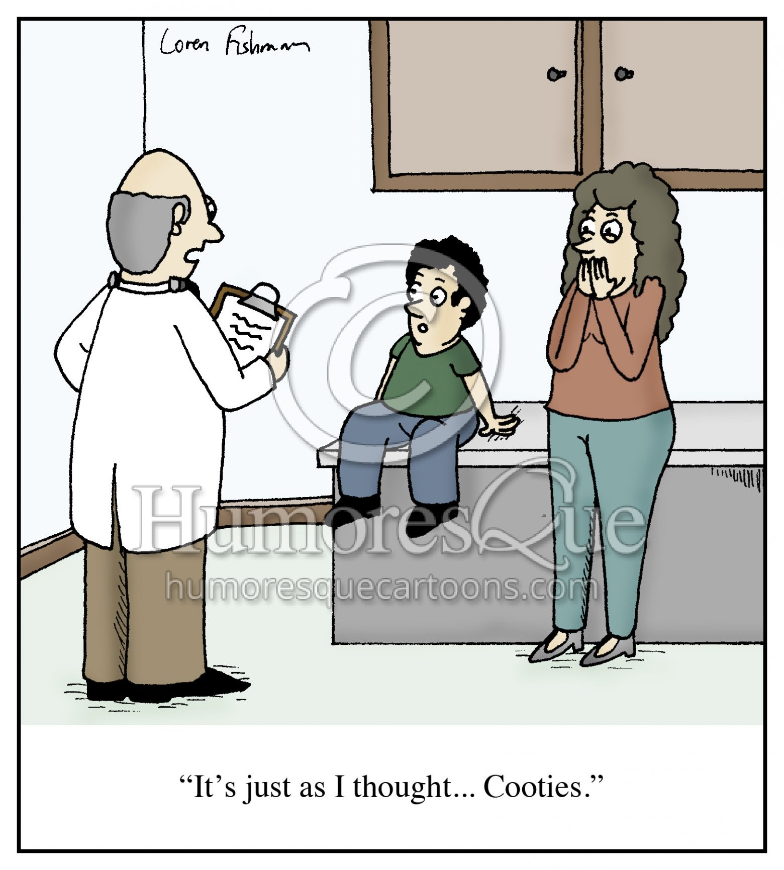 doctor diagnosis kid with cooties cartoon