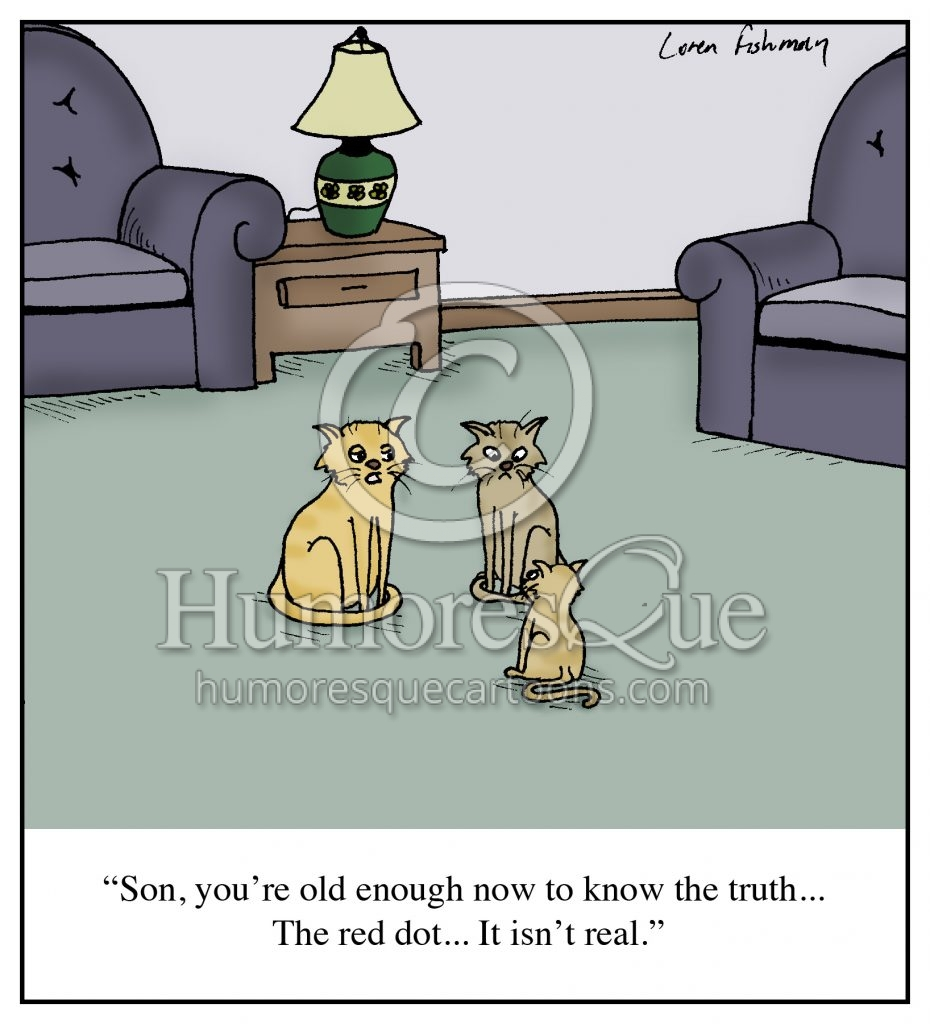 Cats and laser pointers red dot cartoon