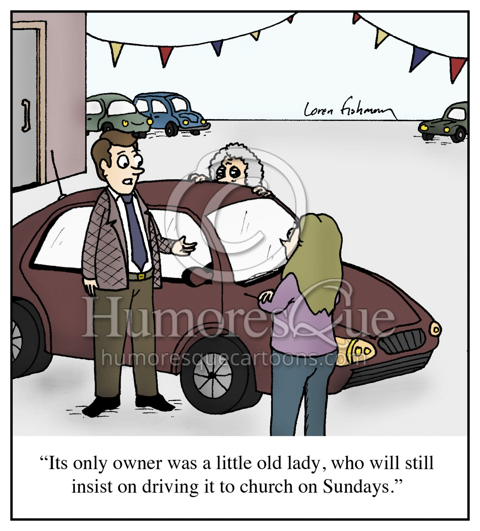 old lady car salesman cartoon