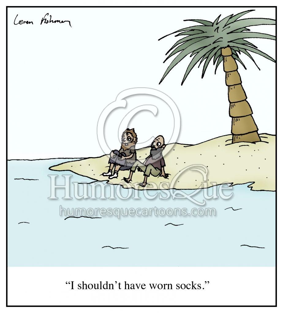 wearing socks at the beach cartoon