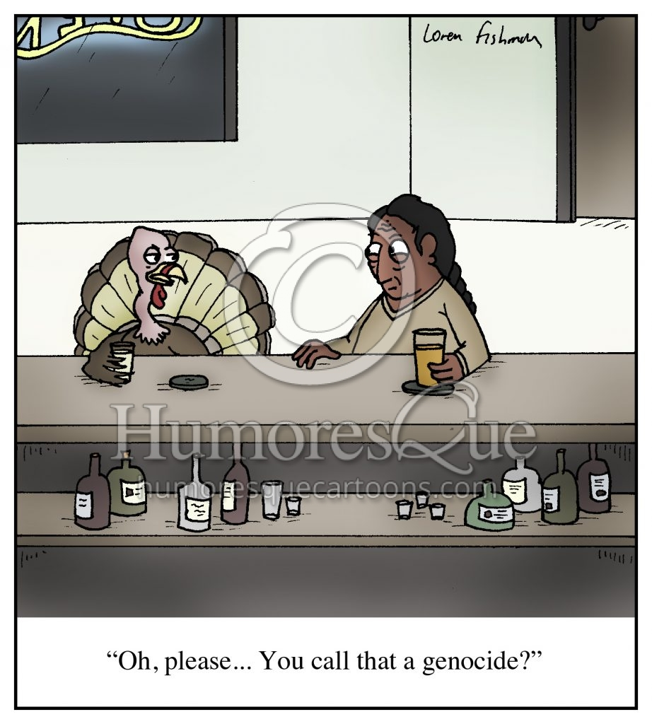 turkey and native american genocide thanksgiving cartoon