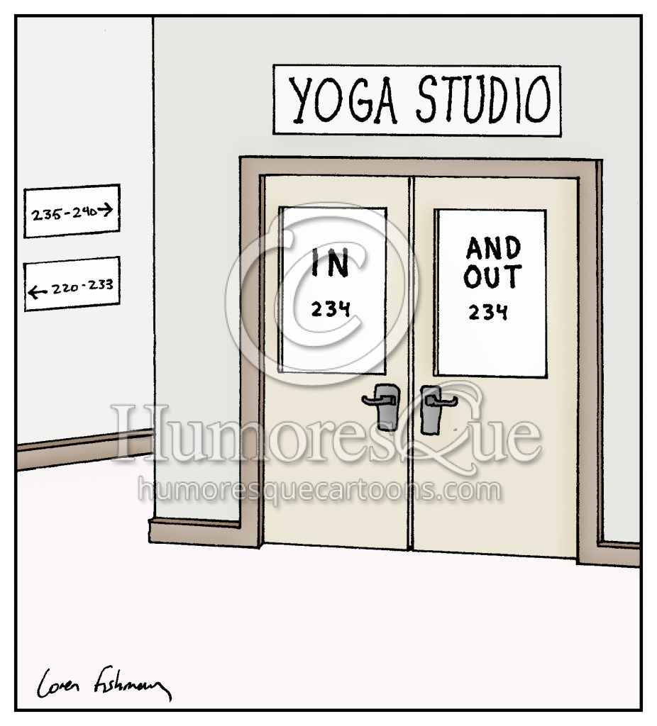 yoga studio breathing exercise cartoon