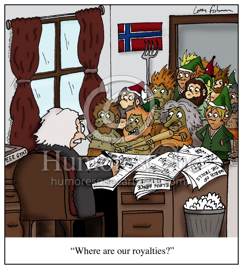 grieg cartoon with trolls and gnomes demanding royalties