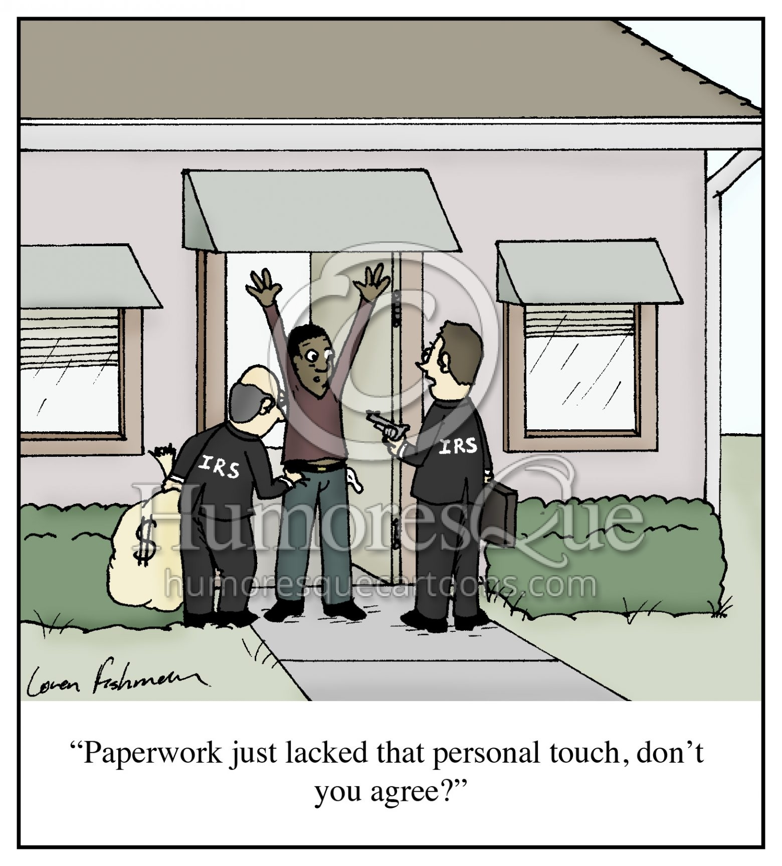 IRS agents robbing people instead of paperwork cartoon