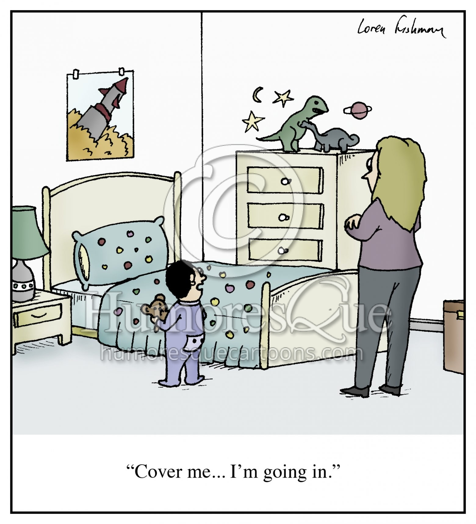 cover me goind to bed child mother cartoon