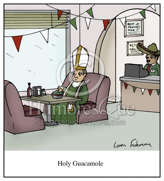 holy guacamole pope mexican food cartoon