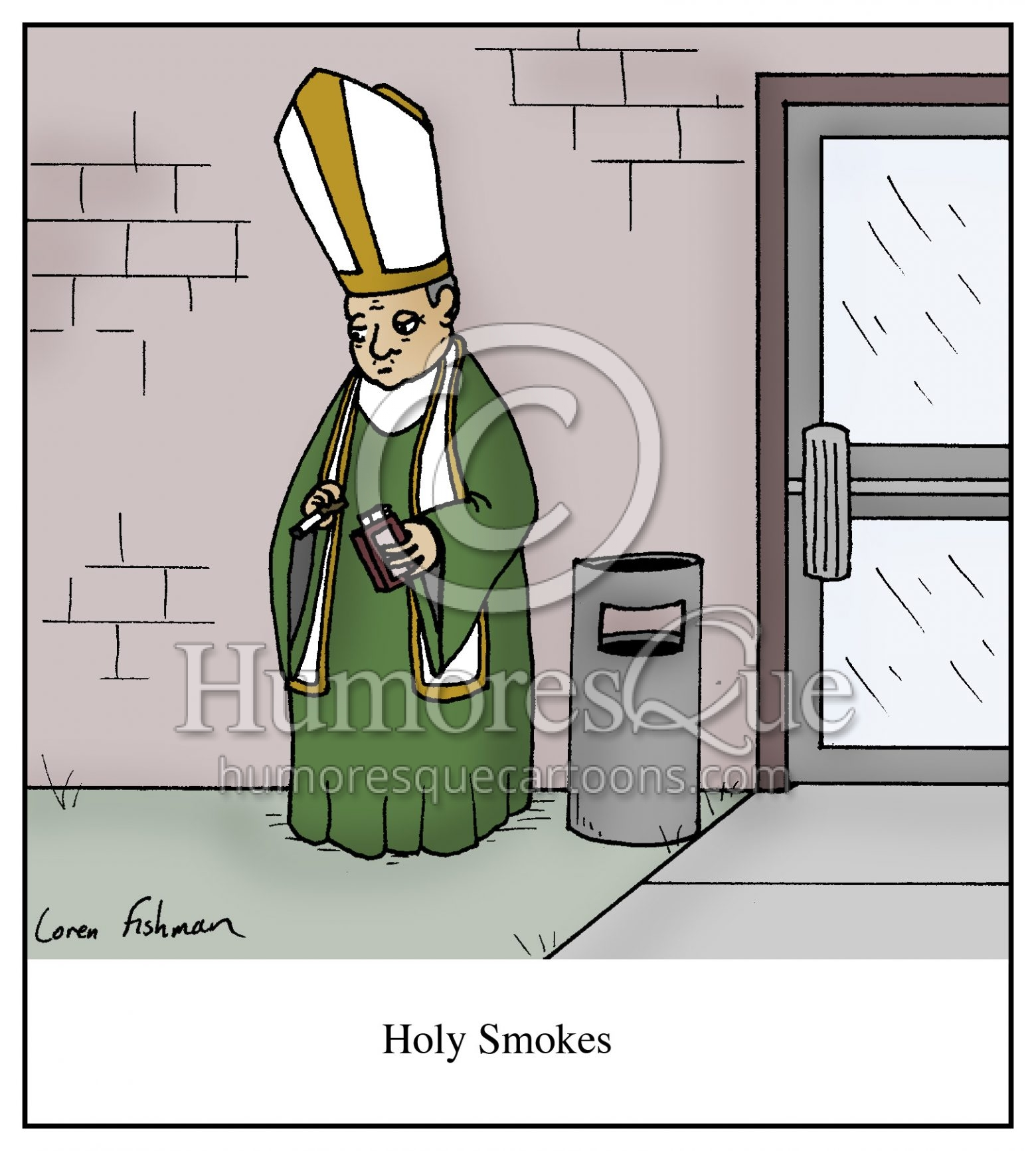 Holy smokes pope smoking cigarette cartoon