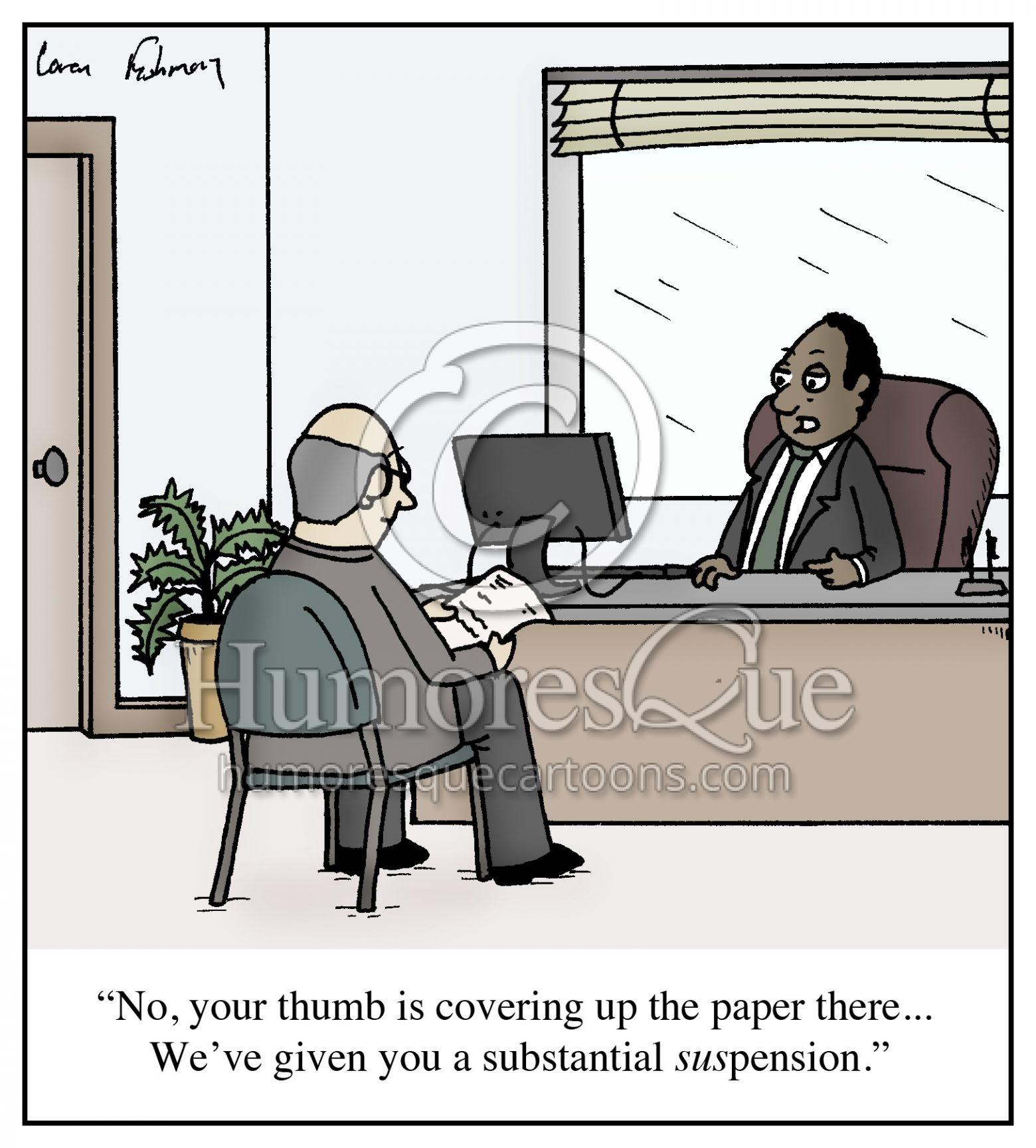 suspension pension retirement cartoon