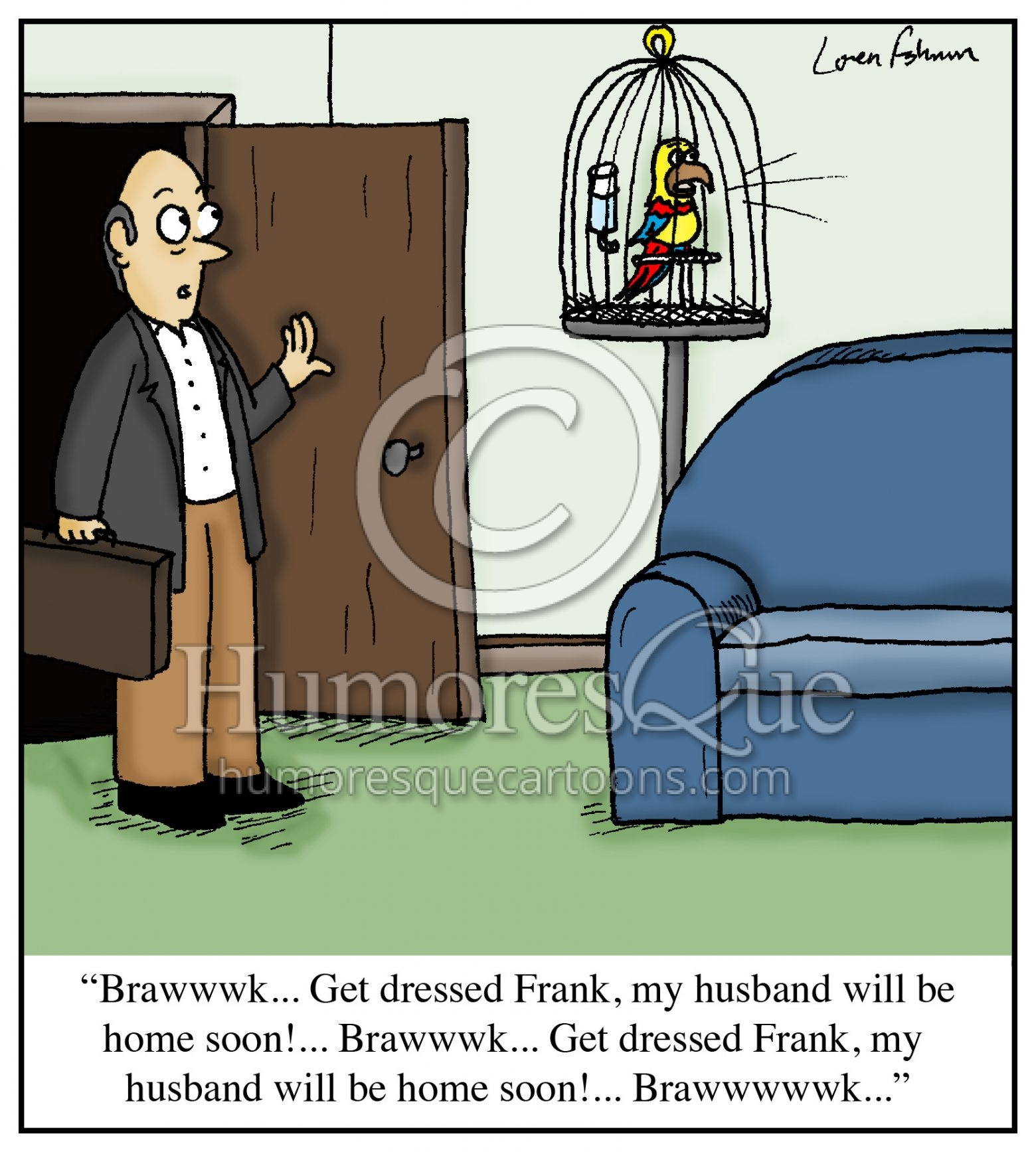 parrot exposing cheating wife marriage cartoon